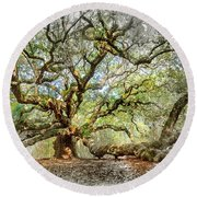 Angel Oak Mixed Media Round Beach Towel