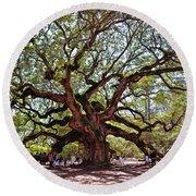 Angel Oak Tree 009 Round Beach Towel by George Bostian