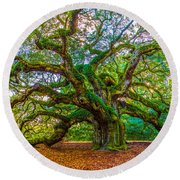Angel Oak Tree Charleston Sc Round Beach Towel by John McGraw