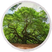 Angel Oak Tree In South Carolina  Round Beach Towel