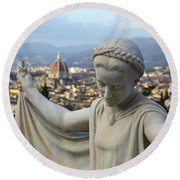 Angel Of Firenze Round Beach Towel by Sonny Marcyan