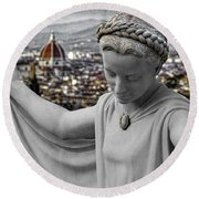 Angel Of Florence Round Beach Towel by Sonny Marcyan