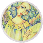 Angel Of Mercy Round Beach Towel