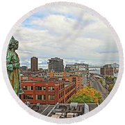Angel Of Old Montreal Round Beach Towel