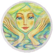 Angel Of Serenity Round Beach Towel
