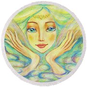 Angel Of Serenity Round Beach Towel