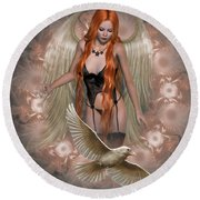 Angel Of The Ravens Round Beach Towel
