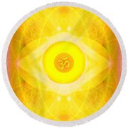 Angel Of The Sun Round Beach Towel