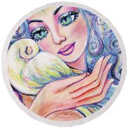 Angel Of Tranquility Round Beach Towel