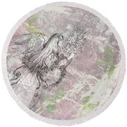 Angel On Pink And Green Florals Round Beach Towel