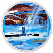 Angel Over Water Round Beach Towel