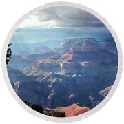 Angel S Gate And Wotan S Throne Grand Canyon National Park Round Beach Towel