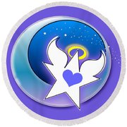 Angel Star Icon Round Beach Towel by Shelley Overton