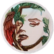 Angel, Watching The Reincarnation Of Marilyn Monro. Op.2769 Round Beach Towel