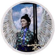 Angel Watercolor Round Beach Towel