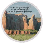 Round Beach Towel featuring the photograph Angel Wings Rock Psalm 91 V 11 by Debby Pueschel