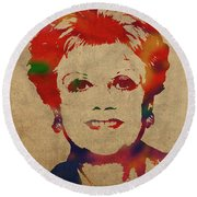 Angela Lansbury Watercolor Portrait Round Beach Towel