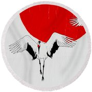 Angelic Crane Round Beach Towel