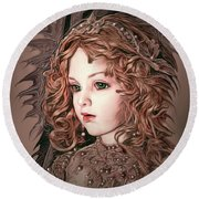 Angelic Doll Round Beach Towel