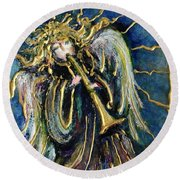 Angelic Song Round Beach Towel by Rae Chichilnitsky