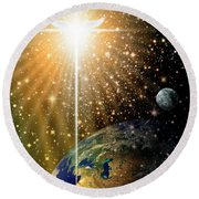 Angelic Star Over Bethlehem Round Beach Towel