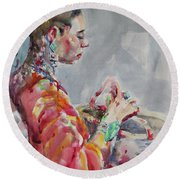 Round Beach Towel featuring the painting Angelica by Becky Kim