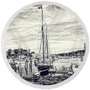 Angelique Resting At Home Round Beach Towel by Daniel Hebard