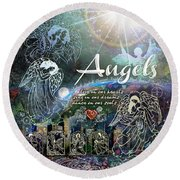 Angels Round Beach Towel