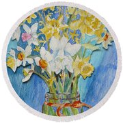 Angels Flowers Round Beach Towel