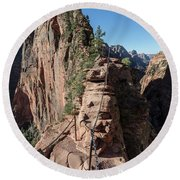 Angels Landing Chains  Round Beach Towel