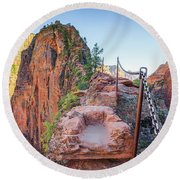 Angels Landing Hiking Trail Round Beach Towel by JR Photography