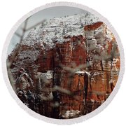 Angels Landing Under Snow Round Beach Towel by Daniel Woodrum