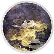 Round Beach Towel featuring the painting Angels Over Palm Springs by Nancy Kane Chapman
