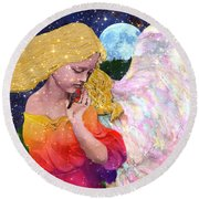 Angels Protect The Innocents Round Beach Towel by Michele Avanti