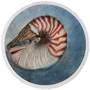 Round Beach Towel featuring the painting Angel's Seashell  by Kim Nelson