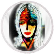 Round Beach Towel featuring the mixed media Angie by Ann Calvo