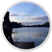 Angkor Sunrise 4 Round Beach Towel