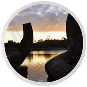 Angkor Sunrise 5 Round Beach Towel