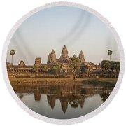 Angkor Wat Temple, Cambodia Round Beach Towel