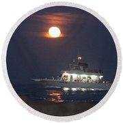 Angler Cruises Under Full Moon Round Beach Towel