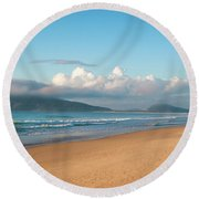 Angler Fishing At Dawn Round Beach Towel by Lana Enderle