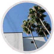 Angles And 3 Palm Tress Round Beach Towel