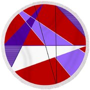 Angles And Triangles Round Beach Towel by Tara Hutton