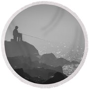 Angling In A Fog  Round Beach Towel