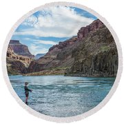 Round Beach Towel featuring the photograph Angling On The Colorado by Alan Toepfer