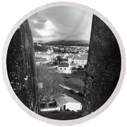 Angra Do Heroismo From Monte Brasil In Black And White Round Beach Towel