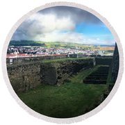 Angra Do Heroismo From The Fort Of Monte Brasil  Round Beach Towel