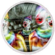 Round Beach Towel featuring the photograph Angry Clowns by Wayne Sherriff