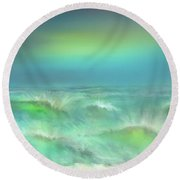 Round Beach Towel featuring the digital art Angry Irma by Darren Cannell