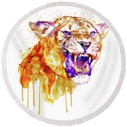 Angry Lioness Round Beach Towel